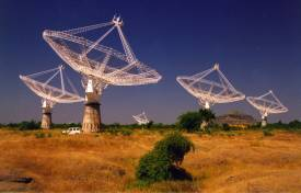 The GMRT radio interferometer in India consists of 30 dish-based antennas, each 45 meters in diameter, spread out over an area of about 25 km wide.
